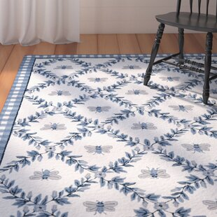 Kinchen Hand-Hooked Wool Blue Area Rug by August Grove