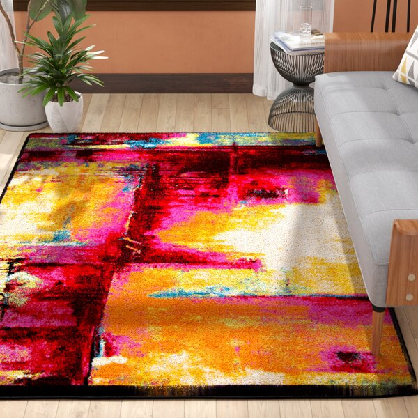 Brannigan Pink/Yellow Area Rug by Mercury Row