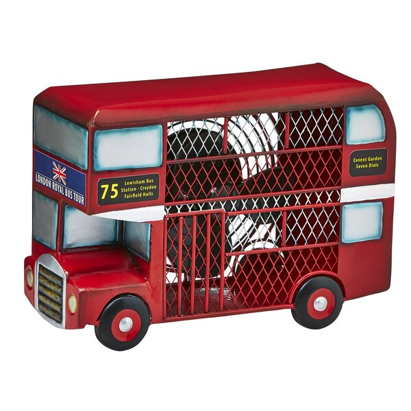 Cremeans Double Decker Bus Figurine 4 Table Fan by Red Barrel Studio