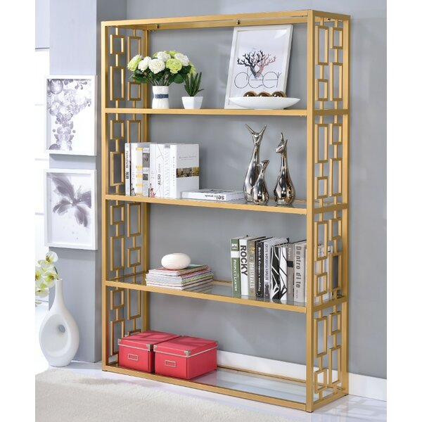 Gately Glass Metal Standard Bookcase by Everly Quinn