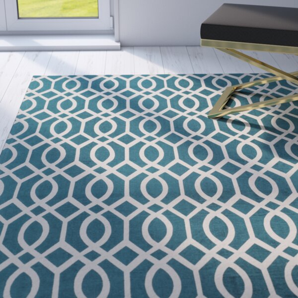 Holsworthy Teal & Ivory Area Rug by Mercer41