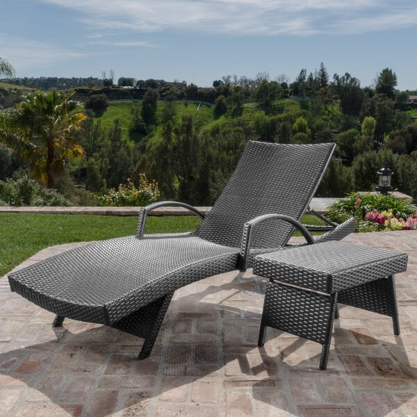 Rebello Adjustable Wicker Reclining Chaise Lounge with Table by Sol 72 Outdoor