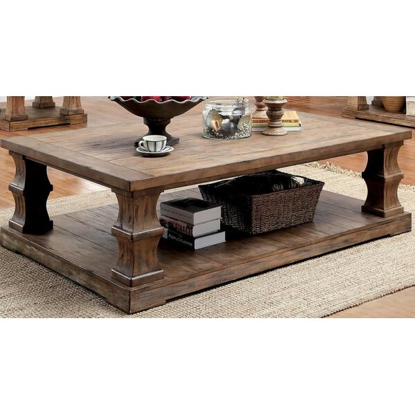 Coraline Solid Wood Floor Shelf Coffee Table With Storage By One Allium Way