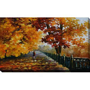 Falling Leafs by Leonid Afremov Painting Print on Wrapped Canvas by Picture Perfect International