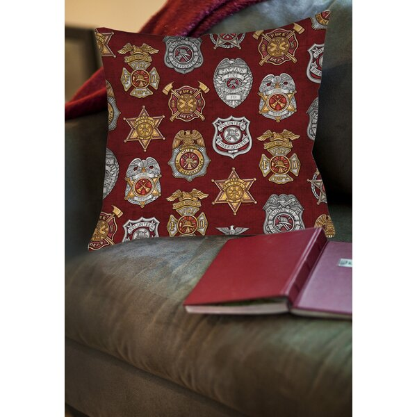Firefighter Badges Printed Throw Pillow by Manual Woodworkers & Weavers