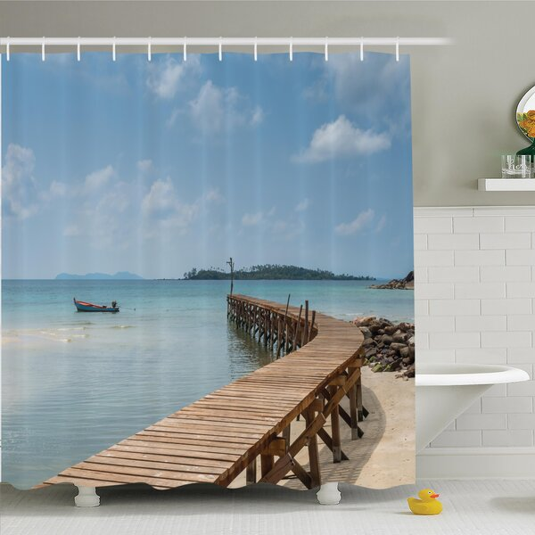 Nautical Wooden Bridge to Sea Shower Curtain Set by Ambesonne