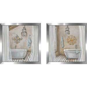 Crystal Bath' 2 Piece Framed Acrylic Painting Print Set Under Glass by Highland Dunes