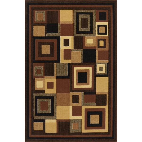 Brinegar Black & Brown Area Rug by Ebern Designs