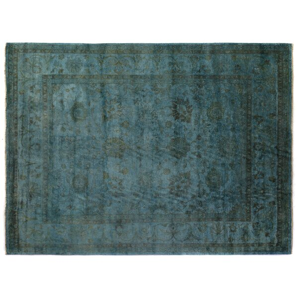 Overdyed Hand-Woven Wool Blue Area Rug by Exquisite Rugs
