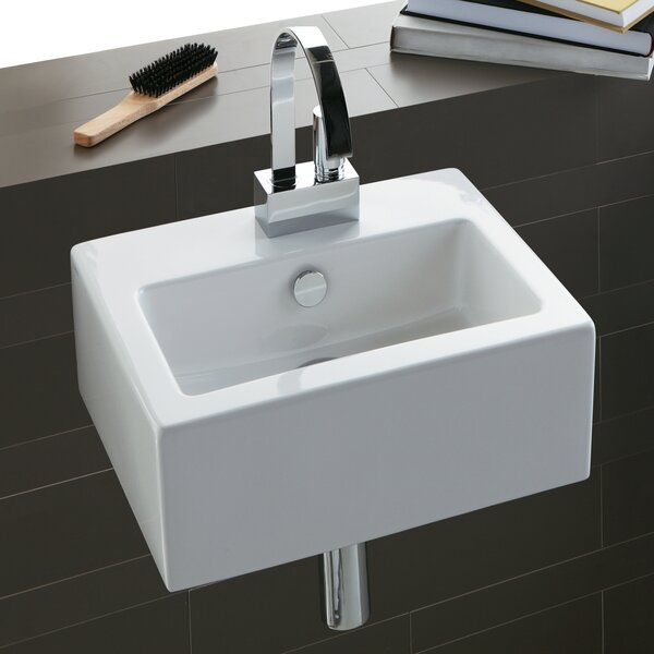 Area Boutique Ceramic 17 Wall Mount Bathroom Sink with Overflow by Bissonnet