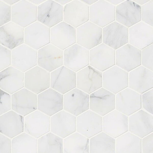 Calacatta Cressa Hex Honed 2 x 2 Marble Mosaic Til