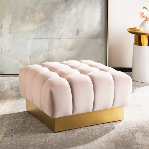 Simonton Square Tufted Ottoman by Everly Quinn