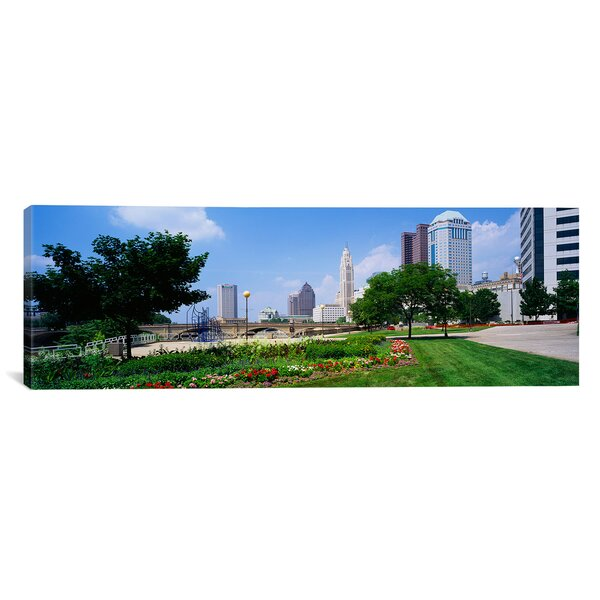 Panoramic Skyscrapers in a City Scioto River, Columbus, Ohio Photographic Print on Canvas by iCanvas