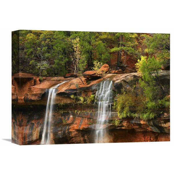 Nature Photographs Cascades Tumbling 110 Feet At Emerald Pools, Zion National Park, Utah by Tim Fitzharris Photographic Print on Wrapped Canvas by Global Gallery