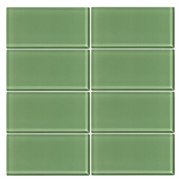 3 x 6 Glass Subway Tile in Pistachio by Vicci Design