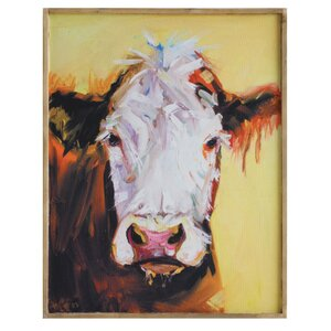 Cow Framed Painting Print on Canvas by August Grove