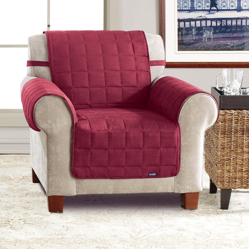 Sure Fit Soft Suede Box Cushion Armchair Slipcover Wayfair