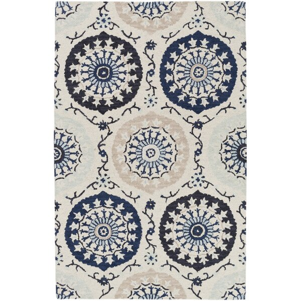 Quaker Ivory/Navy Area Rug by Charlton Home