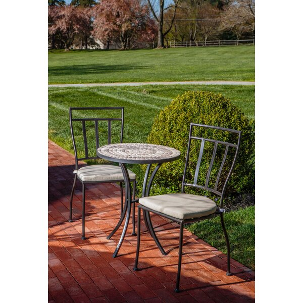 Harlingen 3 Piece Bistro Set With Cushion By World Menagerie