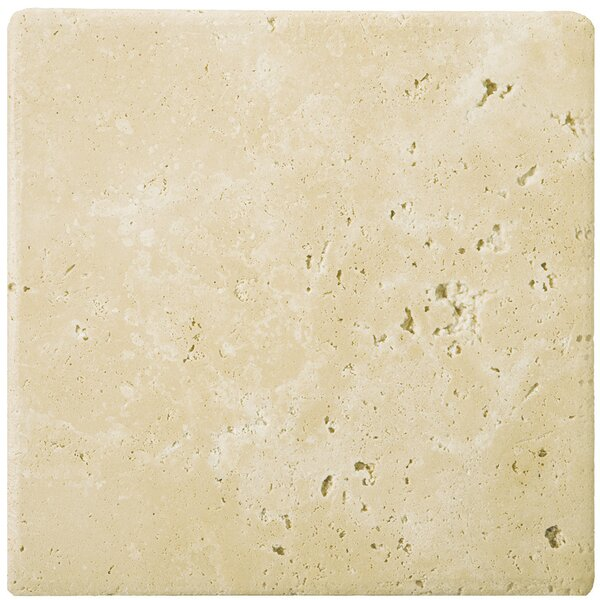 Travertine 4 x 4 Tile in Ancient Tumbled Beige by Emser Tile
