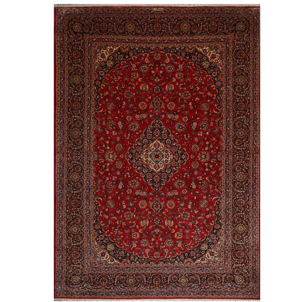 One-of-a-Kind Annies Hand-Knotted Kashan Red 9' x 13' Wool Area Rug