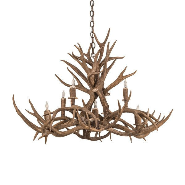 Scruggs 8 - Light Unique / Statement Tiered Chandelier with Antler Accents by Loon Peak Loon Peak