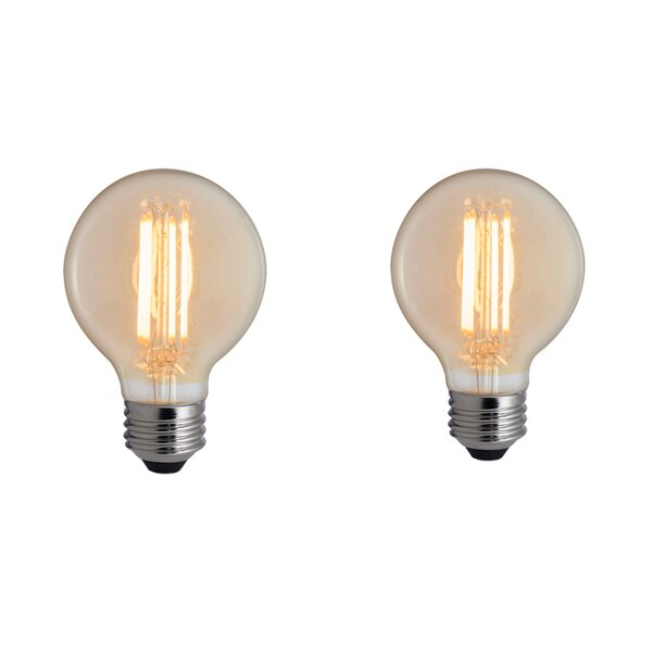 5W E26 Dimmable LED Global Light Bulb Amber (Set of 2) by Bulbrite Industries