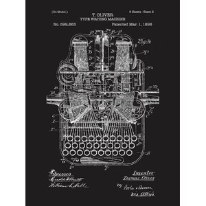 Type Writing Machine Blueprint Graphic Art by Inked and Screened