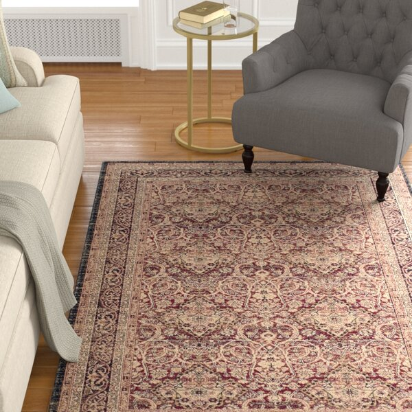 Marion Beige/Burgandy Area Rug by Darby Home Co