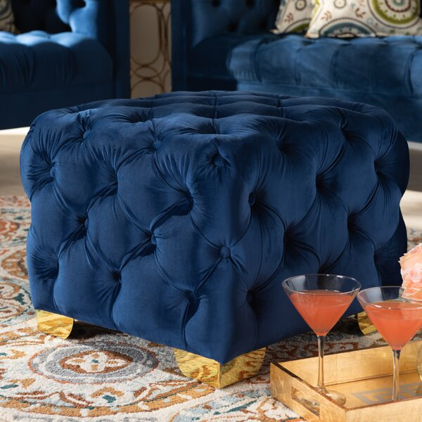 Cutright Button Tufted Cube Ottoman by Mercer41