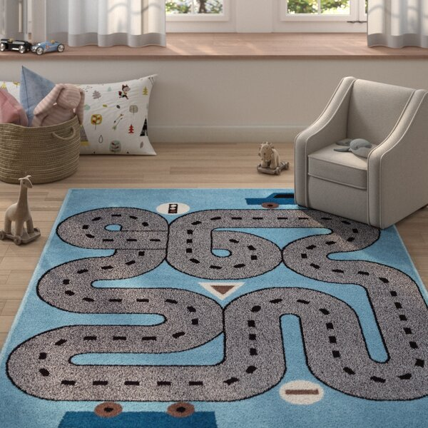 Gulf Racing Roadways Blue/Gray Area Rug by Zoomie Kids