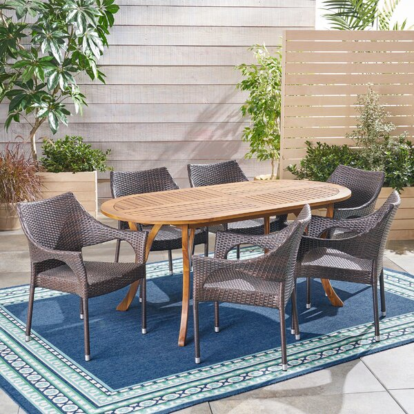 Leber Outdoor 7 Piece Dining Set by Bungalow Rose