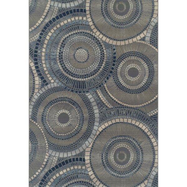 Thistle Gray/Indigo Indoor/Outdoor Area Rug by Bloomsbury Market