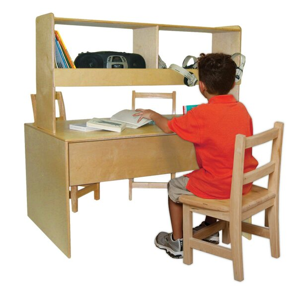48 W Writing Desk with Hutch by Wood Designs