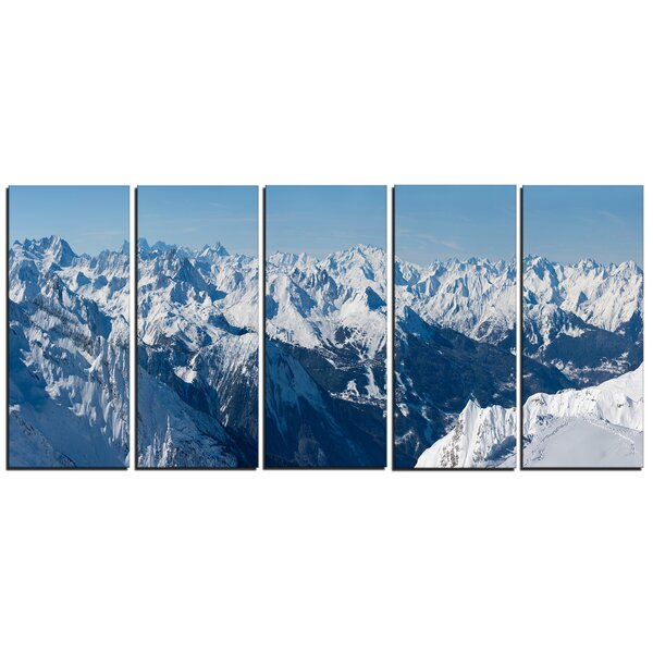 French Alps Panorama 5 Piece Photographic Print on Wrapped Canvas Set by Design Art
