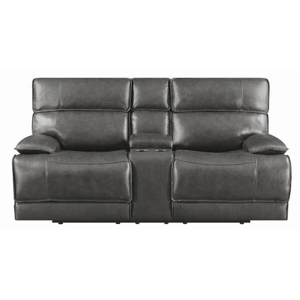 In Vogue Caughfield Leather Reclining Loveseat by Latitude Run by Latitude Run