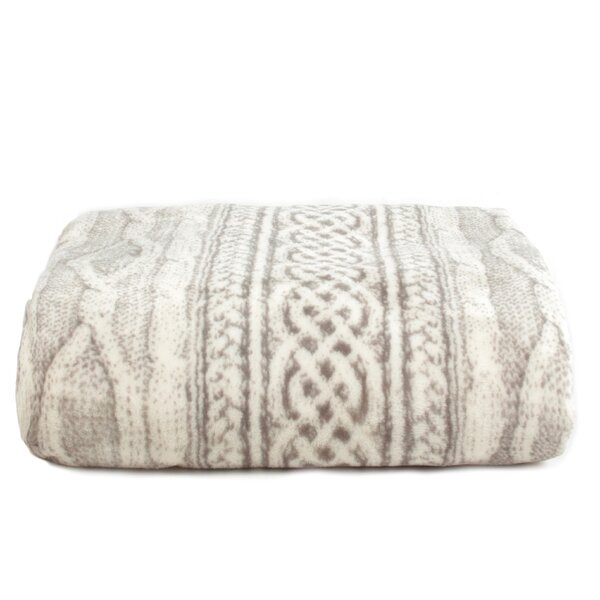 Cable Knit Print Ultra-Soft Plush MicroFleece Blanket by Tadpoles