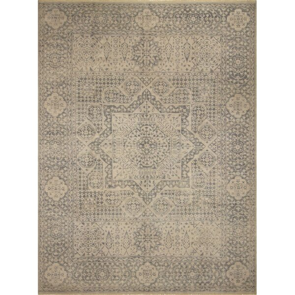 One-of-a-Kind Gena Hand Knotted Wool Silver/Beige Area Rug by Isabelline