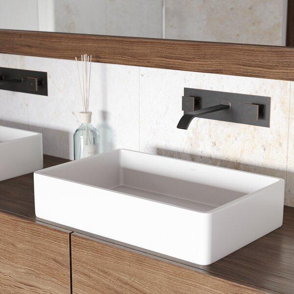 Matte Stone White Matte Rectangular Vessel Bathroom Sink with Faucet