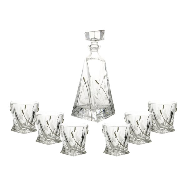 D.O.F. and Bottle 7 Piece Crystal Every Day Glass Set by Three Star Im/Ex Inc.