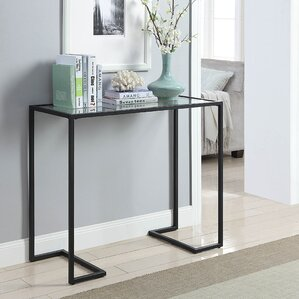 Dowling Glass Top Console Table by Ebern Des..