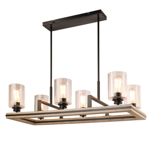 Jada 6 - Light Shaded Rectangle Chandelier by Foundry Select Foundry Select