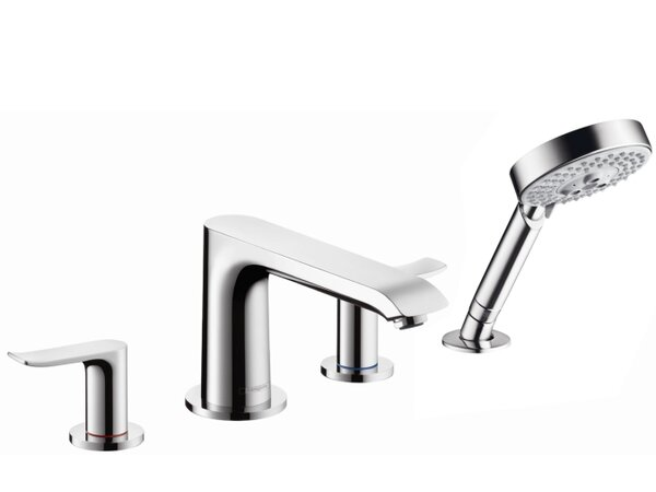 Metris Double Handle Deck Mount Roman Tub Filler Trim with Handshower by Hansgrohe