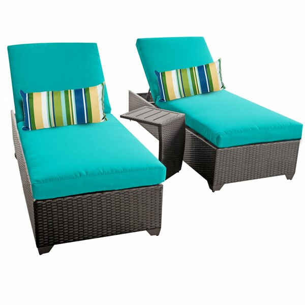 Sun Lounger Set with Cushions and Table by TK Classics TK Classics