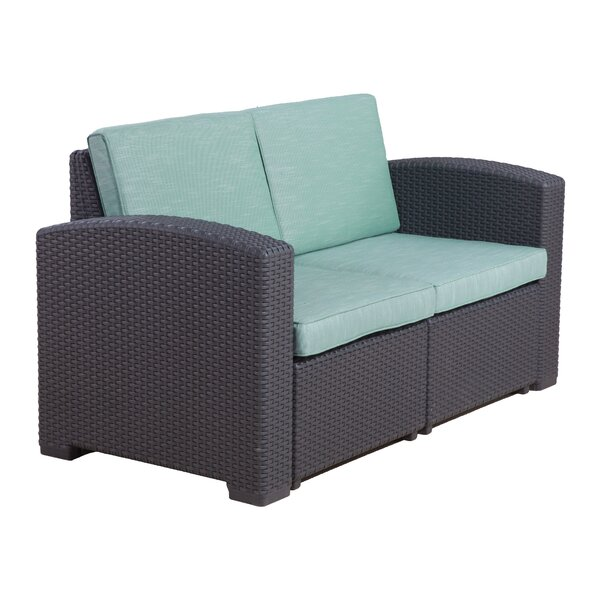 Blanchard Patio Loveseat with Cushions by Highland Dunes