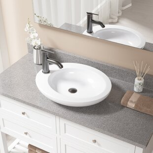 Affordable Vitreous China Oval Vessel Bathroom Sink with Faucet ByMR Direct