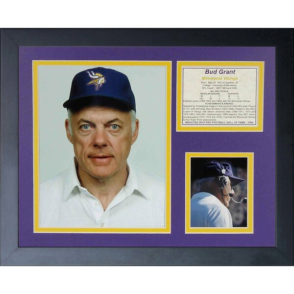 Bud Grant Framed Memorabilia by Legends Never Die