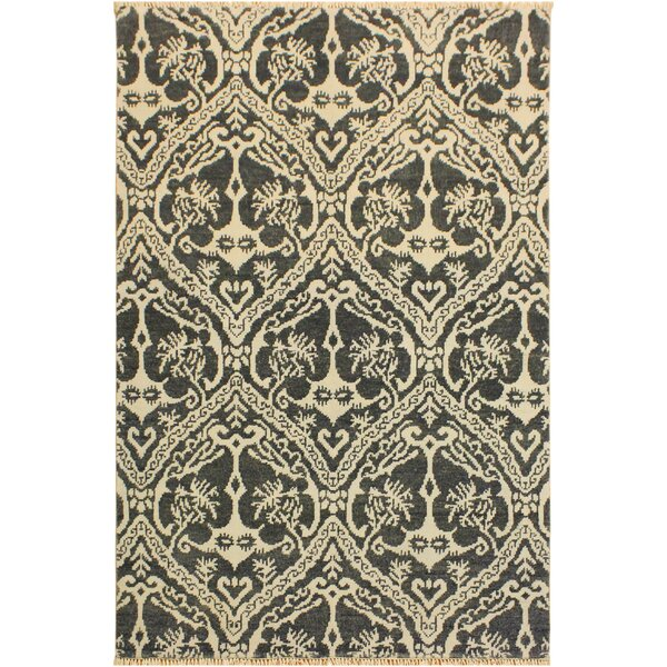 One-of-a-Kind Lusk Hand Knotted Wool Gray/Ivory Area Rug by World Menagerie