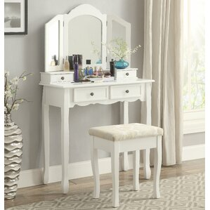 Sanlo Wooden Vanity Set with Mirror by Roundhill Furniture
