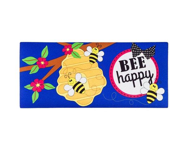 DeLussey Bee Happy Sassafras Doormat by Winston Porter
